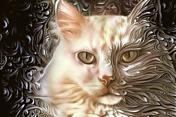Digital Art - Sherry The White Cat by Peggy Collins