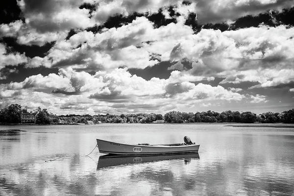 Wall Art - Photograph - Sherwood Millpond Skiff Black And White by Stephanie McDowell