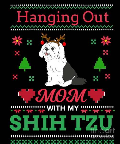 Ugly Digital Art - Shih Tzu Ugly Christmas Sweater Xmas Gift by TeeQueen2603
