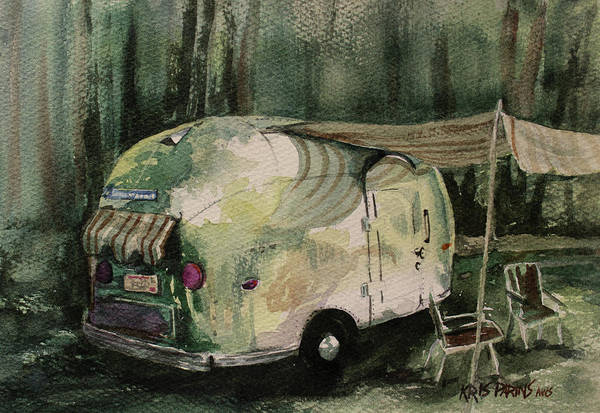 Campsite Wall Art - Painting - Shine In The Pines by Kris Parins