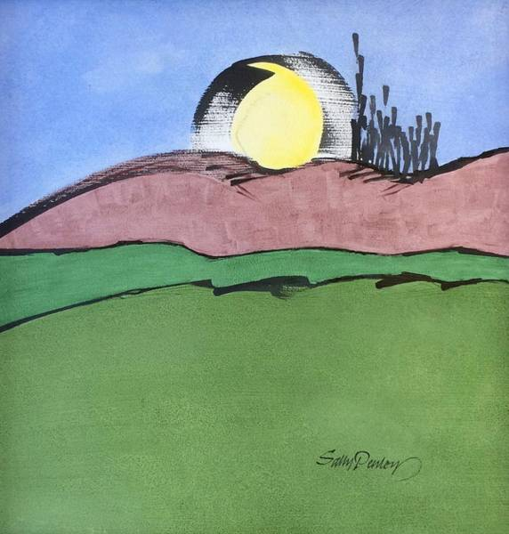 Drawing - Shine On, Harvest Moon by Sally Penley