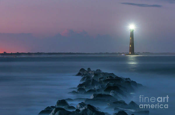 Photograph - Shining Though The Darkness - Morris Island Lighthouse by Dale Powell