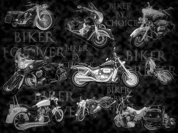 Digital Art - Shiny Bikes Galore In Black And White by Debra and Dave Vanderlaan
