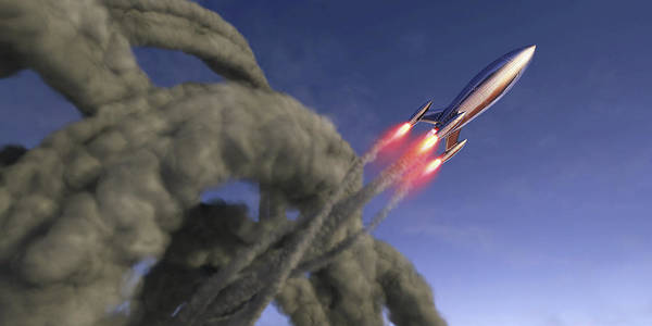Wall Art - Photograph - Shiny Rocket Rising With Swirling Smoke by Ikon Images