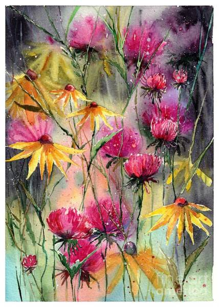 Nocturnal Wall Art - Painting - Shiny Rudbeckia And Thistle by Suzann Sines