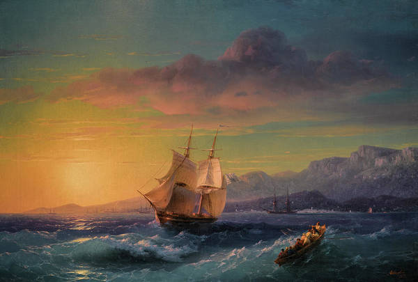 Wall Art - Painting - Ship At Sunset Off Cap Martin by Ivan Konstantinovich Aivazovsky