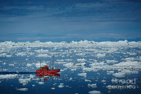 Fjord Photograph - Ship In Ilulissat Icefjord, Unesco by Romantravel