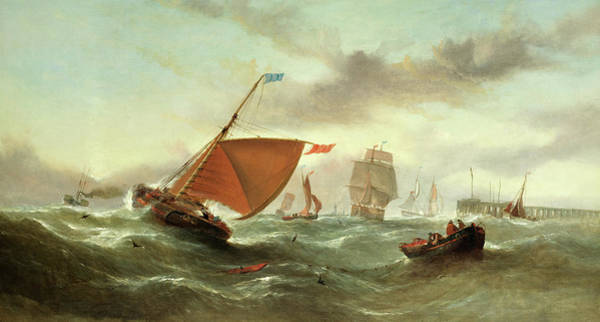 Wall Art - Painting - Shipping In A Squall by William Callcott Knell