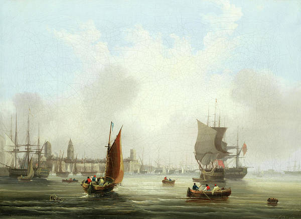 Fortified Wall Art - Painting - Shipping Off A Fortified City by Frederick Calvert