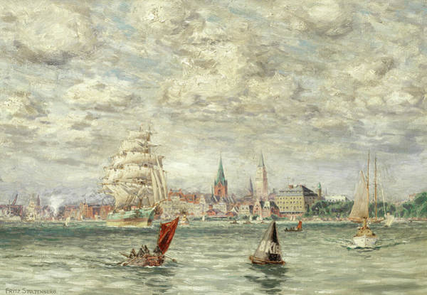 Ocean Scape Painting - Shipping Off Kiel by Fritz Stoltenberg