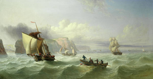 Wall Art - Painting - Shipping Off The Yorkshire Coast by William Garthwaite