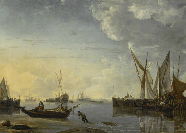 Wall Art - Painting - Shipping Scene In A Calm At Sunset by Hendrick Dubbels