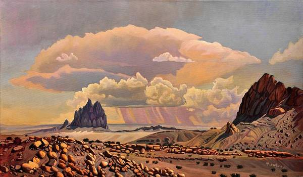 Far Away Wall Art - Painting - Shiprock Vista by Art West