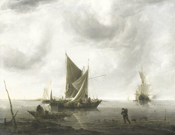 Painting - Ships At Anchor On A Calm Sea by Jan van de Cappelle