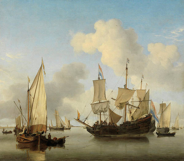 Wall Art - Painting - Ships At Anchor On The Coast, 1660 by Willem van de Velde