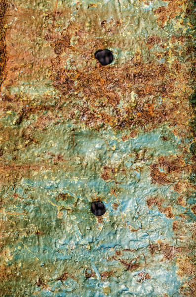 Photograph - Ship's Hull With Peeling Blue Paint, Rust And Holes by Frans Blok