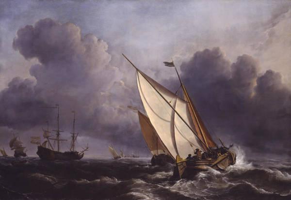 Wall Art - Painting - Ships In A Stormy Sea  by Willem van de Velde