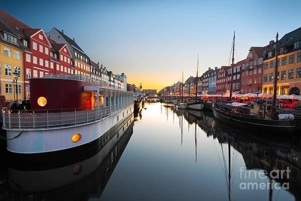 Sailboat Sunset Wall Art - Photograph - Ships In Nyhavn At Sunset, Copenhagen by Frank Fischbach