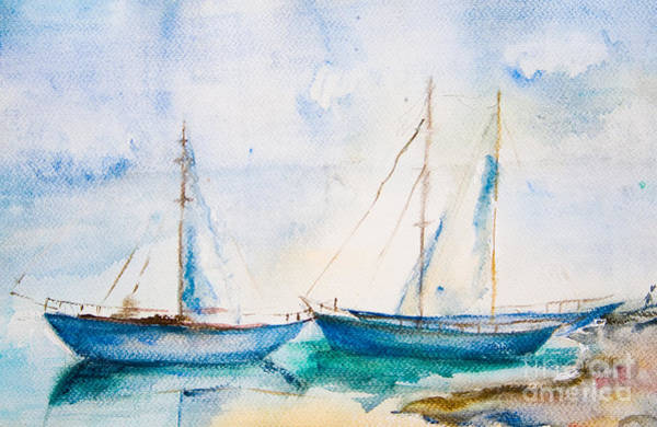 Naval Wall Art - Digital Art - Ships In The Sea, Watercolor Painting by Regina Jershova