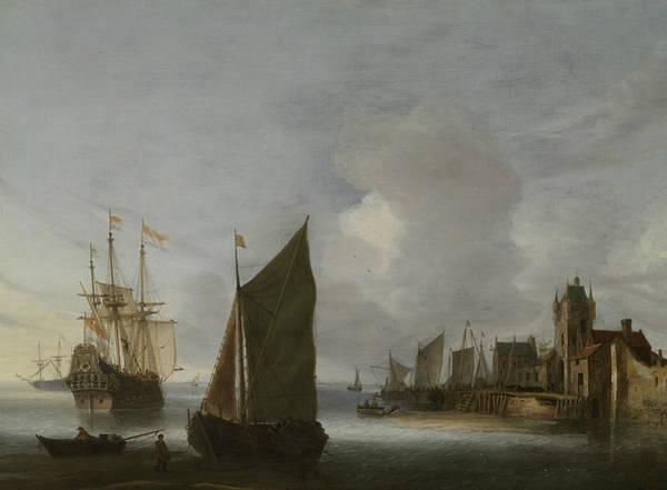 Painting - Ships On The Oosterschelde At The Zuidhavenpoort Of Zierikzee by Hendrick van Anthonissen