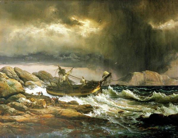 Wall Art - Painting - Shipwrech - Digital Remastered Edition by Johan Christian Dahl