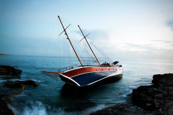 Yacht Photograph - Shipwreck by Edwardmallia