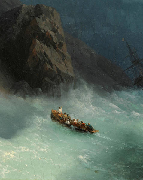 Wall Art - Painting - Shipwreck On A Rocky Shore - Detail by Ivan Konstantinovich Aivazovsky