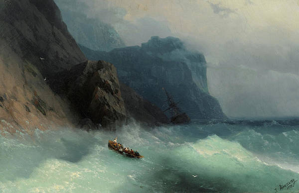 Shipwreck Painting - Shipwreck On A Rocky Shore by Ivan Konstantinovich Aivazovsky