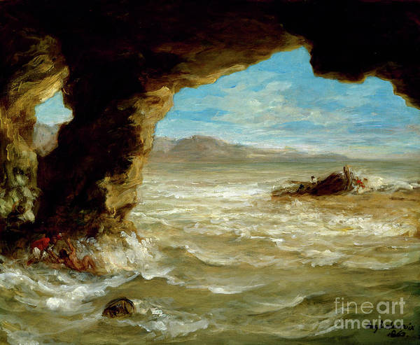 Wall Art - Painting - Shipwreck On The Coast, 1862 by Ferdinand Victor Eugene Delacroix