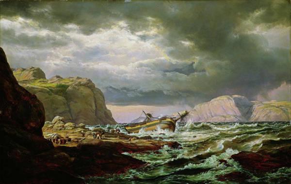 Wall Art - Painting - Shipwreck On The Norwegian Coast - Digital Remastered Edition by Johan Christian Dahl