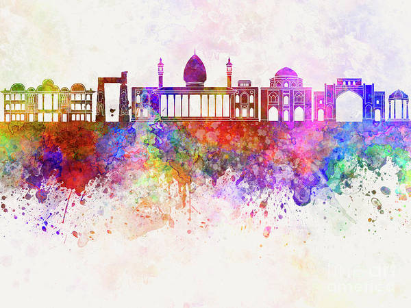 Wall Art - Painting - Shiraz Skyline In Watercolor Background by Pablo Romero
