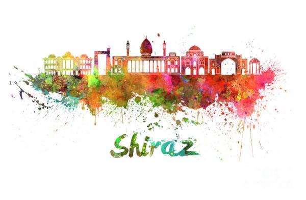 Wall Art - Painting - Shiraz Skyline Watercolor Splatters by Pablo Romero