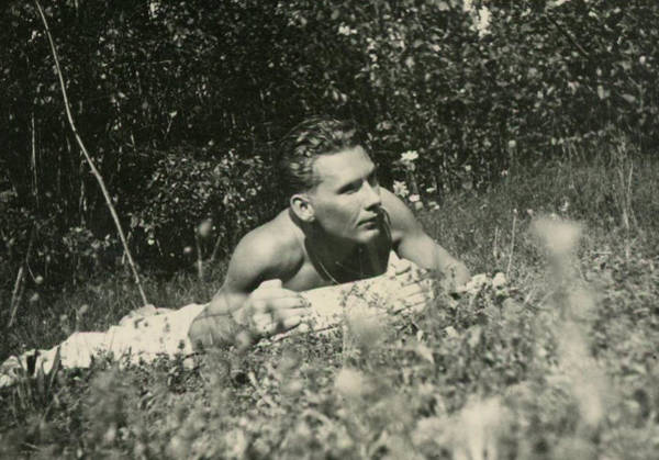 Painting - Shirtless Man Sunbathing In Field by Celestial Images