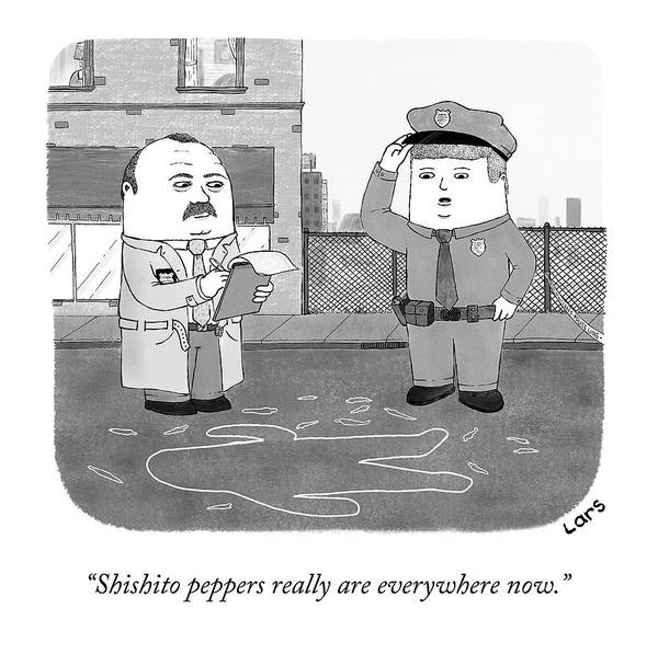 Drawing - Shishito Peppers Are Everywhere by Lars Kenseth