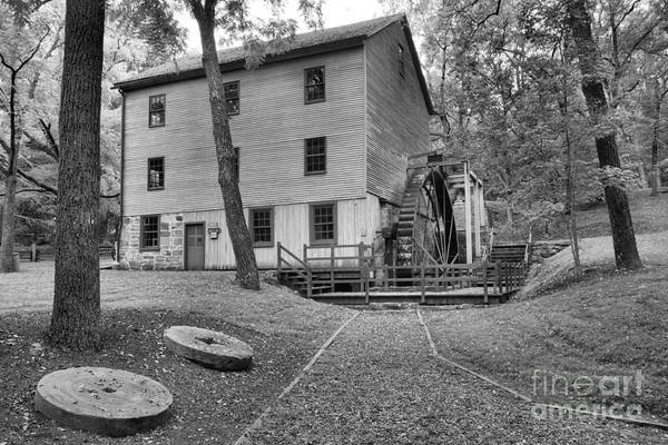 Photograph - Shoaff's Grist Mill Black And White by Adam Jewell