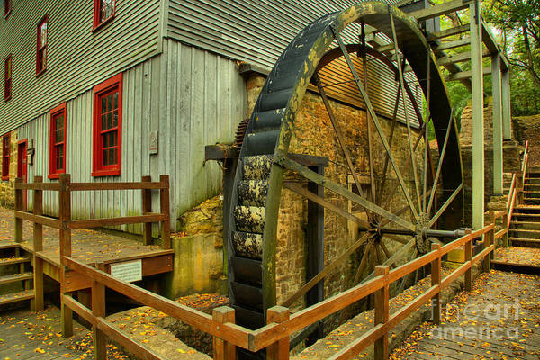 Photograph - Shoaff's Grist Mill Waterwheel by Adam Jewell
