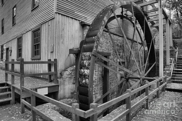 Photograph - Shoaff's Grist Mill Waterwheel Black And White by Adam Jewell
