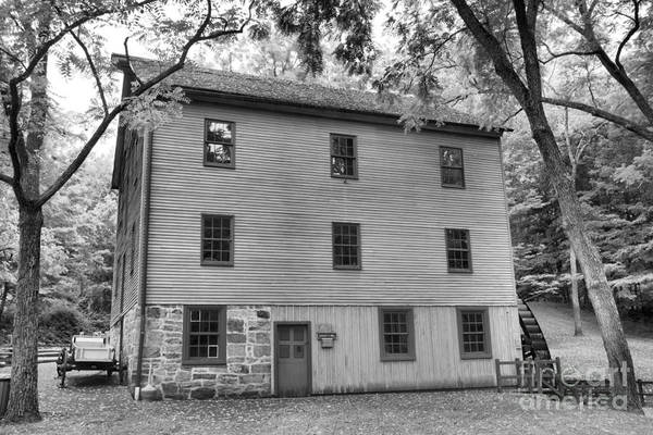 Photograph - Shoaff's Historic Grist Mill Black And White by Adam Jewell