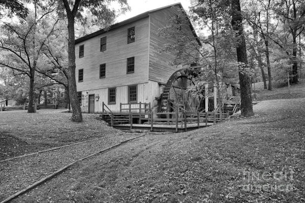 Photograph - Shoaff's Old Grist Mill Black And White by Adam Jewell
