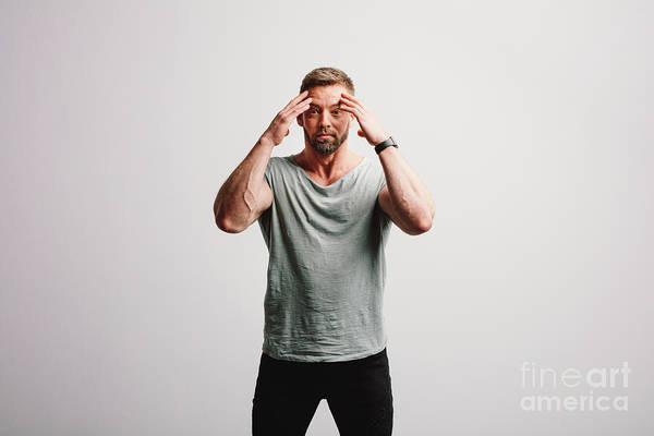 Wall Art - Photograph - Shocked Man On White Background. by Michal Bednarek