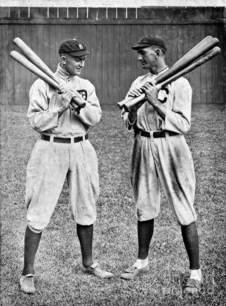 Photograph - Shoeless Joe Jackson And Ty Cobb - Circa 1913 by Doc Braham