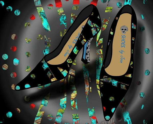 Drawing - Shoes By Joan - Dbnl I Am Here Pumps by Joan Stratton