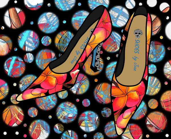 Drawing - Shoes By Joan - Frangipani Pattern Pumps by Joan Stratton