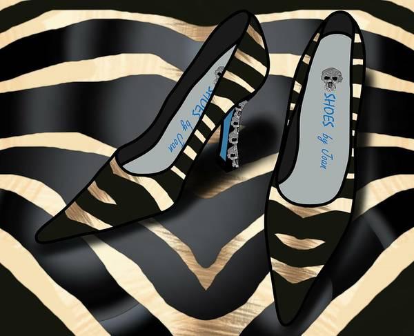 Drawing - Shoes By Joan - Zebra Pattern Pumps by Joan Stratton