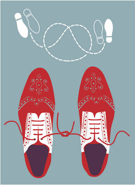 Learning Digital Art - Shoes Tied Together With Dance Steps by Gillian Blease