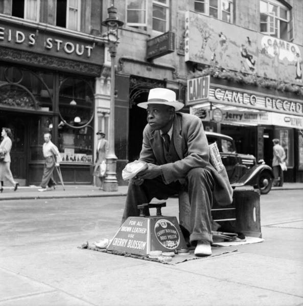 Service Photograph - Shoeshine Pitch by Bert Hardy