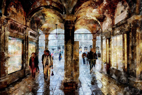 Digital Art - Shopping Area Of Saint Mark Square In Venice, Italy - Watercolor Effect by Fine Art Photography Prints By Eduardo Accorinti