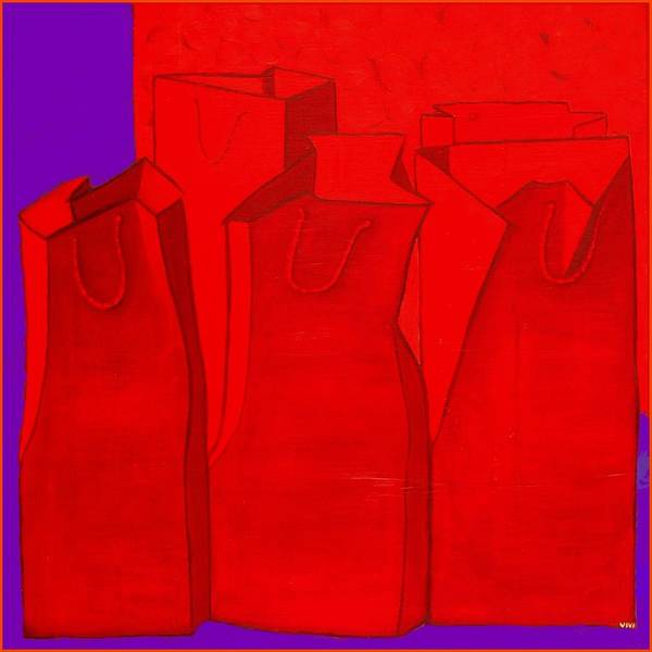 Painting - Shopping In Red by VIVA Anderson