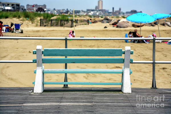 Down The Shore Photograph - Shore Bench At Avon By The Sea by John Rizzuto