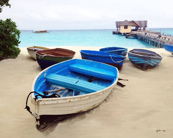 Me Too Painting - Shore Boats / Maldives by Rani S Manik